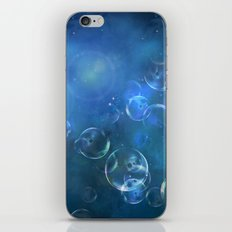 floating bubbles blue watercolor space background iPhone & iPod Skin