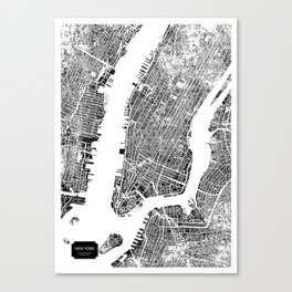 New York City Map United States White and Black Rubbing Canvas Print