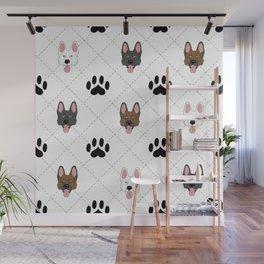 3 German Shepherd Colors Paw Print Pattern Wall Mural