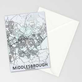 Middlesbrough, England, White, City, Map Stationery Cards