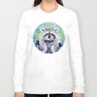 raccoon Long Sleeve T-shirts featuring Raccoon by Alina Rubanenko