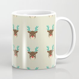 Cute deer pattern Christmas decorations retro colors beige background Coffee Mug