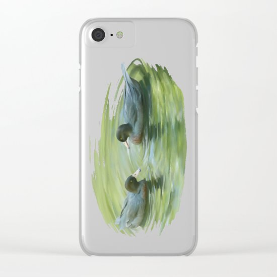 Blue Ducks in pond Clear iPhone Case