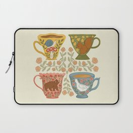 Floral Animal Teacups Laptop Sleeve