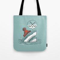 hockey Tote Bags featuring Hockey Shark by Nick Volkert