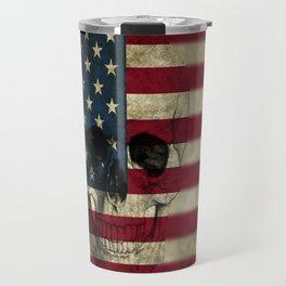 U.S. Flag Skull Travel Mug