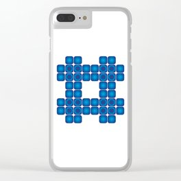 Tile Big Blue - Living Hell Clear iPhone Case