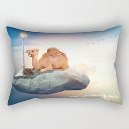 Kiwi and camel riding on a rock in the sky by GEN Z Rectangular Pillow