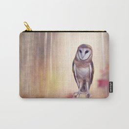 Barn owl perching in the autumn sunny forest Carry-All Pouch