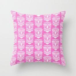 Tiki Pattern Pink Throw Pillow
