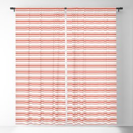 Pantone Living Coral Horizontal Line Patterns on White 2 Blackout Curtain