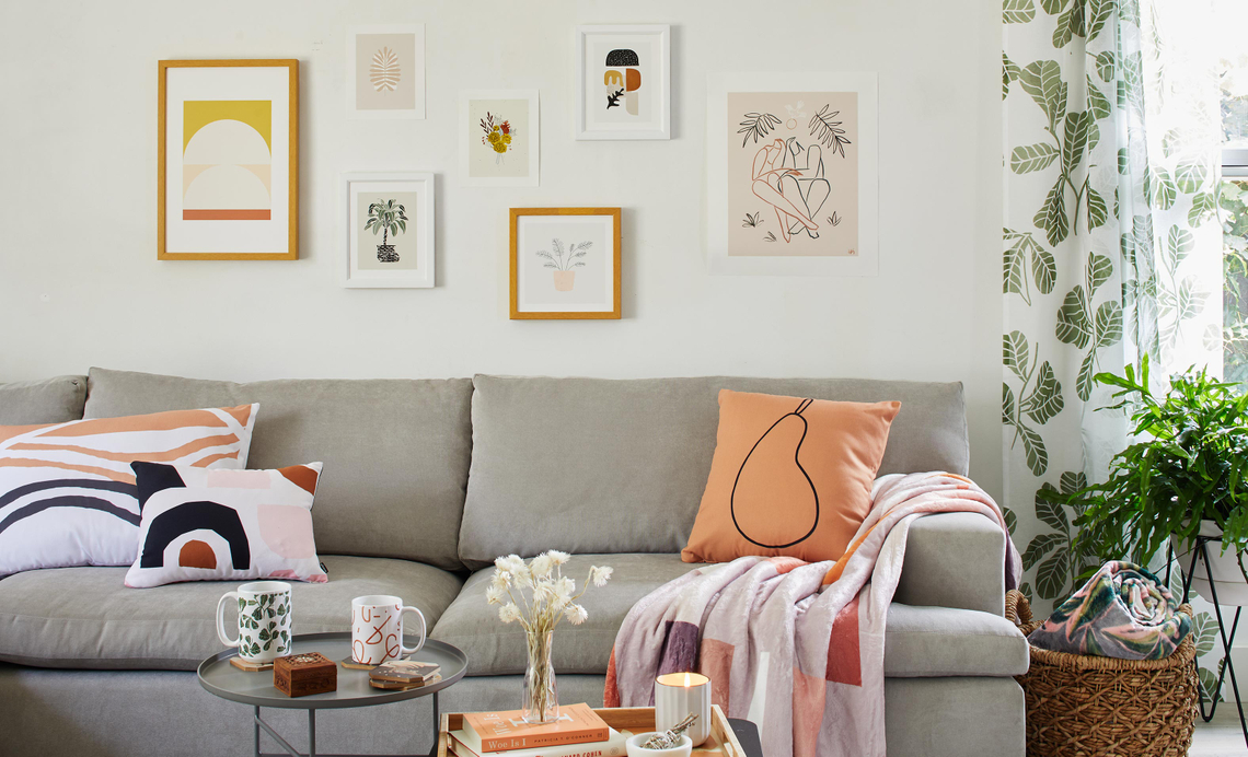 living room with fall themed decor