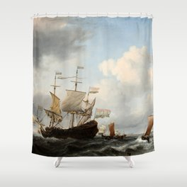 Willem van de Velde the Younger - A Dutch Flagship Coming to Anchor Shower Curtain