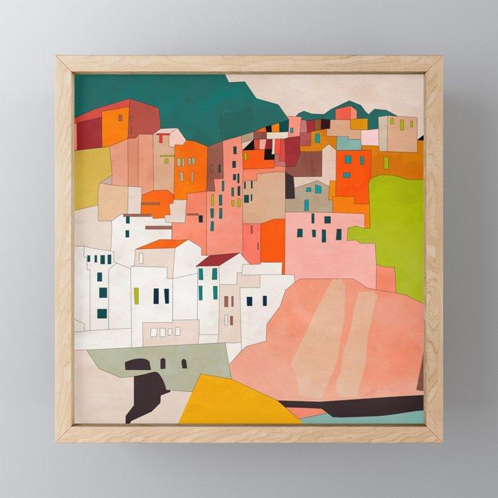 italy coast houses minimal abstract painting Framed Mini Art Print