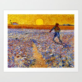 Vincent Van Gogh The Sower With Setting Sun Art Print