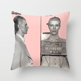 PINKY BOWIE ARRESTED Throw Pillow