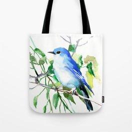 Mountain Bluebird, sky blue green bird artwork Tote Bag