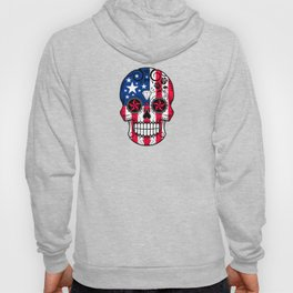 Sugar Skull with Roses and Flag of The United States Hoody