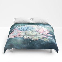 Beautiful Succulents Full Moon Teal Pink Comforters