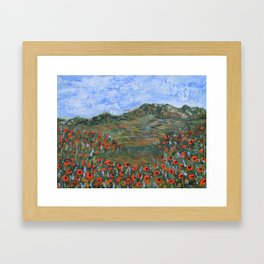 Realm of Poppies, abstract landscape painting, red poppies Framed Art Print