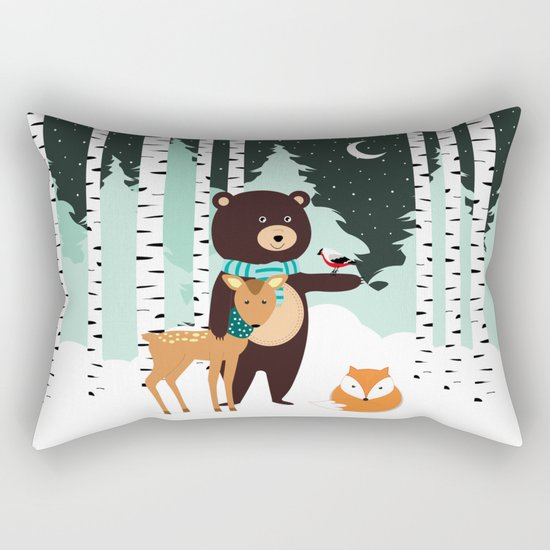 Friends in winter Rectangular Pillow