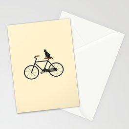 Cat Riding Bike Stationery Cards
