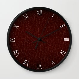 Maroon porous leather sheet textured abstract Wall Clock