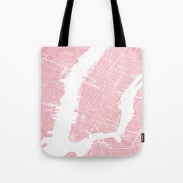 Pink City Map of New York, USA Tote Bag