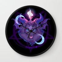baphomet Wall Clocks featuring Baphomet (BLACK) by Gunkiss