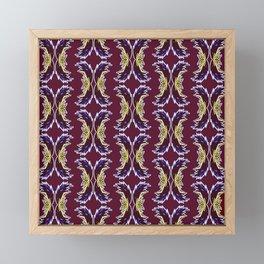 Yellow Burgundy Ornament Baroque Damask Pattern Framed Mini Art Print