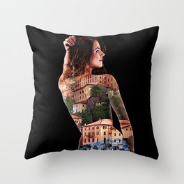 Sexy Woman with Bellagio, Italy Tattooed on Her Back Throw Pillow