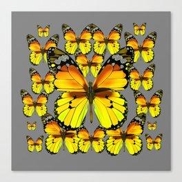 CLUSTER YELLOW-BROWN  BUTTERFLIES GREY  DESIGN Canvas Print