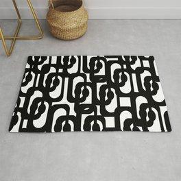 Black and White Mid-century Modern Loop Pattern Rug