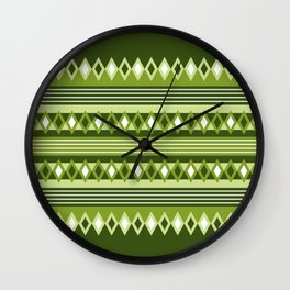 diamonds and stripes in colors of green forest Wall Clock
