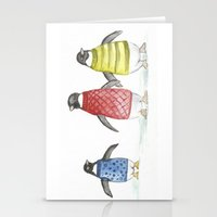 penguins Stationery Cards featuring penguins by Maria Durgarian