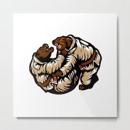 Two bears fighting. Karate Bear Metal Print