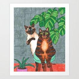 Cat Sisters Art Print