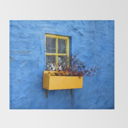 FLOWER - BOX - YELLOW - BLUE - WALL - PHOTOGRAPHY Throw Blanket