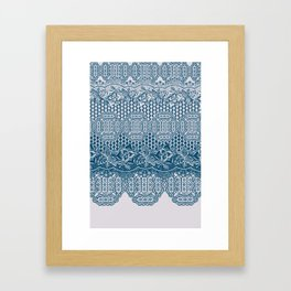 lace border with floral and geo in teal Framed Art Print