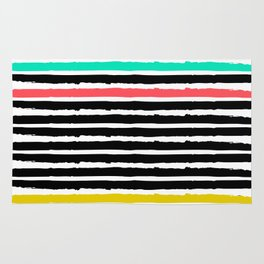 Charcoal and Pastel Stripes Rug