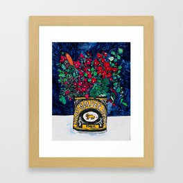Wild Flowers in Golden Syrup Tin on Blue Framed Art Print