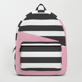 Pink & Gray Stripes Backpack