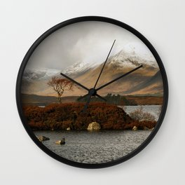 Lone Tree and Dusting of Snow in Mountains of Scotland Wall Clock
