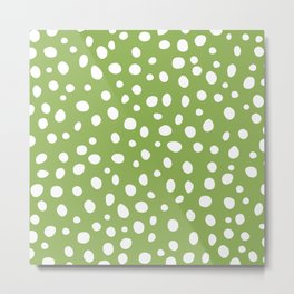 Dots Greenery and White Modern Abstract Metal Print