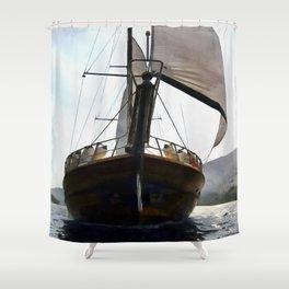 Gulet Under Sail Shower Curtain