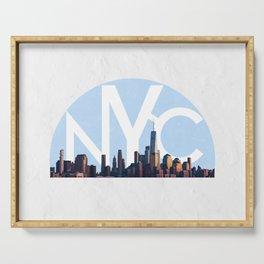 new york city skyline Serving Tray
