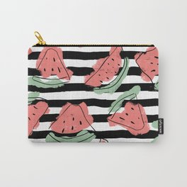 Geometric Artsy Watercolor Coral Mint Black Watermelon Carry-All Pouch