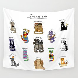 Science cats. History of great discoveries. Schrödinger cat, Tesla, Einstein. Physics, chemistry etc Wall Tapestry