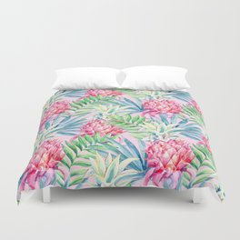 Pineapple & watercolor leaves Duvet Cover