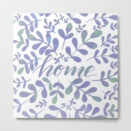 Watercolor home foliage – lilac Metal Print